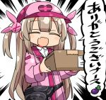 >_< 1girl :d bangs baseball_cap blush_stickers box bunny_hair_ornament cardboard_box closed_eyes collared_shirt commentary_request eggplant emphasis_lines eyebrows_visible_through_hair facing_viewer fang hair_ornament hat heart holding holding_box jacket kanikama light_brown_hair long_hair long_sleeves lowres natori_sana open_mouth pink_headwear pink_jacket sana_channel shirt smile solo two_side_up upper_body very_long_hair virtual_youtuber white_shirt