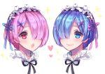 2girls :o artist_name blue_eyes blue_hair blue_ribbon blush closed_mouth face hair_ornament hair_over_one_eye hair_ribbon heart looking_at_another maid maid_headdress multiple_girls open_mouth pink_hair pink_lips purple_ribbon ram_(re:zero) re:zero_kara_hajimeru_isekai_seikatsu rem_(re:zero) ribbon sasucchi95 short_hair siblings simple_background sisters smile sparkle teeth twins upper_teeth violet_eyes white_background x_hair_ornament