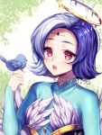 1girl animal artist_name bird blue_hair blush commission eyebrows_visible_through_hair halo highres holding holding_animal long_sleeves looking_at_viewer original parted_lips pink_eyes sasucchi95 short_hair sleeves_past_wrists solo upper_body watermark