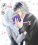 !! !? 1boy 1girl black_gloves black_hair blue_hair blush box braid brynhildr_(fate) commentary_request contemporary couple eyebrows_visible_through_hair fate/grand_order fate/prototype fate/prototype:_fragments_of_blue_and_silver fate_(series) formal gift gift_box glasses gloves grey_hair hair_over_shoulder heart hetero highres holding holding_box kiss long_braid long_hair looking_at_another multicolored_hair nanashi_(toku_meiko) semi-rimless_eyewear sigurd_(fate/grand_order) single_braid suit surprise_kiss surprised two-tone_hair under-rim_eyewear very_long_hair violet_eyes white_background wide-eyed