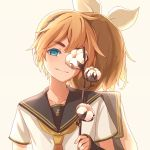 1boy 1girl arm_at_side back-to-back backlighting black_sailor_collar blonde_hair blue_eyes cell_(diox) commentary cotton_boll covering covering_one_eye detached_sleeves english_commentary eyebrows_visible_through_hair head_tilt headset holding kagamine_len kagamine_rin looking_at_viewer mixed-language_commentary necktie plant sailor_collar shirt short_sleeves simple_background smile thick_eyebrows upper_body vocaloid white_background white_shirt yellow_neckwear