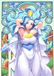 1girl armlet armpits arms_behind_head arms_up art_nouveau blue_eyes blue_hair breasts choker closed_mouth cowboy_shot crown dress flower harihisa highres large_breasts long_hair looking_at_viewer precure princess_leo_(precure) smile solo star_princess star_twinkle_precure sunflower white_dress yellow_neckwear