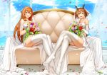 2girls absurdres armlet bangs blush bouquet breasts bridal_veil brown_hair commentary_request crossed_legs crossover dress eyebrows_visible_through_hair feet flower full_body girls_frontline green_eyes hair_between_eyes hair_ribbon hair_rings headgear heart heart_necklace highres holding holding_bouquet huge_filesize jai_(whany1998) kantai_collection large_breasts legs_together light_particles long_hair looking_at_viewer m1903_springfield_(girls_frontline) multiple_girls mutsu_(kantai_collection) no_shoes off-shoulder_dress off_shoulder open_mouth petals pink_flower pink_rose red_flower red_rose ribbon rose short_hair sidelocks sitting smile veil wedding_dress white_legwear yellow_flower yellow_rose