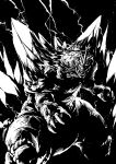 absurdres black_background claws commentary electricity fangs godzilla_(series) high_contrast highres horn ishiyumi kaijuu monochrome monster no_humans spacegodzilla spikes