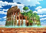 arch architecture bird blue_sky circle_name clouds colosseum column dry_earth greco-roman_architecture highres ivy mountainous_horizon no_humans original overgrown palm_tree pillar post-apocalypse rainbow ruins scenery sky tokyogenso tree water waterfall