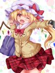 1girl ;d alternate_costume arm_up bag blonde_hair blush bow bowtie breasts brown_cardigan cardigan cellphone contrapposto cowboy_shot eyebrows_visible_through_hair fang flandre_scarlet hair_between_eyes hat hat_ribbon head_tilt holding holding_phone looking_at_viewer mob_cap one_eye_closed open_mouth outstretched_arm phone plaid plaid_skirt red_eyes red_neckwear ribbon sailor_collar school_bag school_uniform short_hair side_ponytail skirt sleeves_past_wrists small_breasts smartphone smile solo star starry_background touhou unmoving_pattern unory white_background white_headwear white_sailor_collar wings