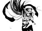 1girl absurdres cape fate/grand_order fate_(series) fire glowing glowing_eye hat highres holding holding_sword holding_weapon katana koha-ace long_hair military military_hat military_uniform oda_nobunaga_(fate) pointing_sword sketch sword tsukamoto_minori uniform weapon