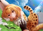 2girls absurdres animal_ear_fluff animal_ears bangs belt black_gloves blonde_hair blue_sky blush clouds commentary_request day drawing elbow_gloves eyebrows_visible_through_hair gloves grass hair_between_eyes high-waist_skirt highres holding_hands interlocked_fingers kemono_friends looking_at_viewer lucky_beast_(kemono_friends) lying medium_hair modoi_(star) multiple_girls on_ground on_side orange_eyes outdoors paper_airplane pov pov_hands print_gloves print_legwear print_skirt serval_(kemono_friends) serval_ears serval_print serval_tail shirt skirt sky sleeveless sleeveless_shirt smile solo_focus tail thigh-highs white_shirt
