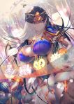 1girl black_hair blue_eyes blurry blurry_background breasts bridal_gauntlets circlet curvy fate/grand_order fate_(series) glowing glowing_eyes highres jewelry lamp large_breasts long_hair magic naganegi pelvic_curtain ribbon scheherazade_(fate/grand_order) smile staff thigh-highs thighs translucent tsurime veil wide_hips
