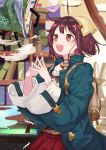 1girl :d ahoge anger_vein atelier_(series) atelier_sophie backpack bag blue_jacket blurry blurry_background blush book brown_eyes brown_hair cauldron commentary_request depth_of_field fang feathered_wings hair_ornament head_scarf indoors jacket long_sleeves open_clothes open_jacket open_mouth pleated_skirt red_skirt ryuuno6 shirt skirt smile smoke solo sophie_neuenmuller steepled_fingers sweat trembling white_shirt white_wings wide_sleeves wings