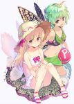 2girls :d alternate_eye_color alternate_headwear antennae ass ball bangs bare_legs beachball bikini black_bikini blonde_hair breasts brown_eyes butterfly_wings collarbone commentary_request eternity_larva eyebrows_visible_through_hair fairy_wings full_body green_hair hair_between_eyes hair_ribbon hat kneeling knees_up leaf lily_white long_hair looking_at_viewer multiple_girls navel open_mouth pink_footwear pink_ribbon power-up puuakachan revision ribbon sandals sarong short_hair simple_background sitting small_breasts smile stomach sun_hat swimsuit thighs touhou violet_eyes white_background white_bikini wings