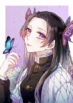 1girl absurdres black_hair black_jacket butterfly_hair_ornament butterfly_on_hand closed_mouth hair_intakes hair_ornament highres jacket kimetsu_no_yaiba kochou_shinobu leisure-sora long_hair long_sleeves looking_at_viewer smile solo upper_body violet_eyes