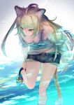 1girl adjusting_clothes adjusting_shoe ahoge animal_ear_fluff animal_ears aqua_bikini aqua_blouse arm_up armpits ass_visible_through_thighs atalanta_(fate) bangs bikini blonde_hair braid breasts breasts_apart cat_ears cat_tail caustics commentary_request cropped_legs denim denim_shorts downblouse eyebrows_visible_through_hair fate/apocrypha fate_(series) green_eyes green_hair hair_between_eyes hand_in_hair hanging_breasts leaning_forward leg_up long_hair looking_away medium_breasts miyuki_ruria multicolored_hair outdoors see-through shaded_face shirt shoes short_shorts shorts skindentation slit_pupils sneakers solo standing standing_on_one_leg swimsuit swimsuit_under_clothes tail tied_shirt two-tone_hair very_long_hair
