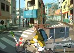 1girl apple backpack bag barber_pole bicycle bird brown_hair cat cityscape commentary food fruit graffiti ground_vehicle highres jacket long_hair milk_carton original outdoors pigeon riding scenery short_shorts shorts spring_onion tao_(tao15102) twintails