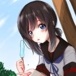 1girl anchor_symbol black_hair black_sailor_collar blue_eyes blue_sky clouds commentary_request day food fubuki_(kantai_collection) kantai_collection looking_at_viewer low_ponytail na-code_(gurich) outdoors ponytail popsicle remodel_(kantai_collection) sailor_collar school_uniform serafuku short_ponytail sidelocks sky solo tongue tongue_out upper_body