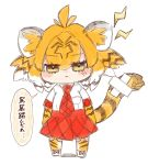1girl :3 anger_vein animal_ear_fluff animal_ears animal_print bandaid_on_tail bangs black_hair blush chibi commentary crossed_bandaids elbow_gloves eyebrows_visible_through_hair eyes_visible_through_hair full_body gloves highres kemono_friends lightning_bolt looking_at_viewer medium_hair multicolored_hair necktie notora orange_hair print_gloves print_legwear red_neckwear red_skirt shirt short_sleeves simple_background sketch skirt solo speech_bubble tail tiger_(kemono_friends) tiger_ears tiger_print tiger_tail translated white_background white_hair white_shirt yellow_eyes