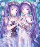 2girls :o bangle bangs bare_shoulders blue_blood_moon blue_panties blush bracelet breasts choker commentary_request dress euryale eyebrows_visible_through_hair fate/grand_order fate/hollow_ataraxia fate_(series) flower hair_between_eyes hairband headdress highres holding_hands jewelry lolita_hairband long_hair looking_at_viewer multiple_girls multiple_rings neck_ring necklace open_mouth panties purple_hair ribbon see-through siblings sisters smile stheno thighlet twins twintails underwear very_long_hair violet_eyes white_dress