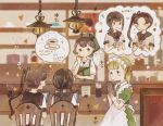 4girls apron ayanami_(kantai_collection) bandana bangs blonde_hair blush brown_hair cafe chair closed_eyes coffee commentary_request cup folded_ponytail fubuki_(kantai_collection) hair_ribbon highres kantai_collection kasuga_maru_(kantai_collection) long_hair low_ponytail maid maid_apron maid_headdress menu multiple_girls onigiri_(ginseitou) ponytail remodel_(kantai_collection) ribbon sailor_collar school_uniform serafuku shin'you_(kantai_collection) short_sleeves side_ponytail smile sweat sweatdrop taiyou_(kantai_collection) tears tray