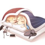 2girls anchor anchor_hair_ornament bangs bismarck_(kantai_collection) blanket blonde_hair blush chibi closed_eyes closed_mouth commentary_request covering eyebrows_visible_through_hair futon hair_between_eyes hair_ornament hat hat_removed headwear_removed kantai_collection long_hair long_sleeves lying mofu_namako multiple_girls on_stomach pajamas peaked_cap phone pillow prinz_eugen_(kantai_collection) ribbon sleeping under_covers