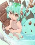 1girl :d animal_ears bangs bare_arms bare_shoulders black_hair blush_stickers brown_leotard chocolate chocolate_bar chocolate_mint_ice_cream commentary_request cup eyebrows_visible_through_hair fang food green_eyes green_hair hair_between_eyes hair_ornament ice_cream in_container in_cup in_food leotard looking_at_viewer minigirl mofuaki multicolored_hair open_mouth original personification ribbed_leotard seiza short_eyebrows sitting smile solo striped striped_legwear tail thick_eyebrows thigh-highs two-tone_hair wafer_stick