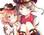 2girls alternate_hairstyle animal_ears ascii_media_works bangs black_headwear blue_eyes blush bone_hair_ornament bow braid brown_gloves bushiroad carrying commentary_request cowboy_hat dog_ears flower fringe_trim gloves hair_bow hands_together hat hat_flower highres kemonomimi_mode looking_at_viewer love_live! love_live!_school_idol_festival love_live!_sunshine!! makura_(makura0128) multiple_girls orange_hair princess_carry red_bandana red_eyes red_headwear short_hair simple_background smile sock_garters sunrise_(studio) sweatdrop takami_chika tokyo_mx twin_braids watanabe_you western white_background white_flower yellow_bow yuri