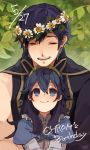 1boy 1girl birthday blue_eyes blue_hair closed_eyes coat collar dated doku_gin1126 dress english_text father_and_daughter fire_emblem fire_emblem:_kakusei flower_wreath frilled_collar frills hair_between_eyes head_wreath krom leaf long_hair looking_at_another lucina open_mouth plant puffy_sleeves shirt short_hair signature single_sleeve sitting sitting_on_lap sitting_on_person smile symbol-shaped_pupils tiara upper_body