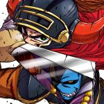 2boys armor bleeding blood blood_stain bloody_clothes broken broken_horn broken_sword broken_weapon cape commentary cuts determined dragon_lord dragon_quest dragon_quest_i evil_grin evil_smile green_eyes grin hanya_(hanya_yashiki) helmet hero_(dq1) holding holding_sword holding_weapon horned_helmet injury looking_at_another male_focus multiple_boys red_cape red_horns reflection scratches serious shaded_face sharp_teeth simple_background sketch smile sword teeth upper_body weapon white_background