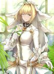 1girl ahoge bangs belt blonde_hair bodysuit breasts bridal_veil buckle chain commentary fate/extra fate/extra_ccc fate_(series) flower full-length_zipper green_eyes hair_between_eyes hair_intakes head_wreath highres large_breasts lock looking_at_viewer loose_belt nero_claudius_(bride)_(fate) nero_claudius_(fate)_(all) one_eye_closed padlock rose shiguru smile solo tearing_up thighs veil white_bodysuit white_flower white_rose window zipper