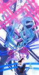 1girl :d absurdly_long_hair aqua_eyes aqua_hair bangs black_legwear black_shorts blush breasts commentary detached_sleeves digital_dissolve disintegration floating_hair green_hair hair_between_eyes hands_up hatsune_miku highres jacket jumping long_hair looking_at_viewer multicolored_hair open_clothes open_jacket open_mouth purple_jacket shirt shoes short_shorts shorts sidelocks sieru smile sneakers solo thigh-highs thigh_strap twintails very_long_hair vocaloid white_shirt wind