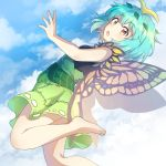 1girl antennae aqua_hair arched_back bangs bare_arms bare_shoulders barefoot black_shirt blue_sky butterfly_wings caramell0501 clouds commentary day eternity_larva eyebrows_visible_through_hair feet_out_of_frame from_side green_skirt leaf leg_up looking_at_viewer miniskirt open_mouth outdoors shirt short_hair skirt sky sleeveless sleeveless_shirt solo thighs touhou wings yellow_eyes