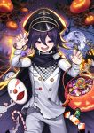 1boy bag bat black_hair candy cape castle checkered checkered_scarf commentary_request danganronpa eyebrows_visible_through_hair food hair_between_eyes halloween hat highres kyundoo looking_at_viewer male_focus mask mask_removed moon new_danganronpa_v3 night night_sky ouma_kokichi pants paw_pose peaked_cap pumpkin purple_hair scarf short_hair sky smile solo straitjacket upper_teeth violet_eyes white_legwear white_pants