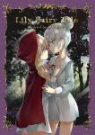 2girls blonde_hair buttons character_name cinderella cinderella_(grimm) commentary_request cover cowboy_shot crossover dress eye_contact eyebrows_visible_through_hair forest framed_image grey_dress grey_eyes grey_hair grimm's_fairy_tales hair_bun hand_on_another's_chest highres light_rays little_red_riding_hood little_red_riding_hood_(grimm) long_hair looking_at_another multiple_girls nature red_hood red_ribbon ribbon sunbeam sunlight todo-akira tree yuri