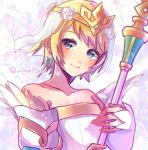 1girl blonde_hair blue_eyes bride closed_mouth commentary_request crown earrings feather_trim fire_emblem fire_emblem_heroes fjorm_(fire_emblem_heroes) flower hair_flower hair_ornament holding holding_staff jewelry m1n0f2e1 short_hair smile solo staff strapless twitter_username upper_body veil