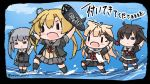4girls =_= abukuma_(kantai_collection) ahoge bike_shorts black_hair black_jacket black_legwear black_ribbon black_serafuku blonde_hair braid brown_footwear chibi commentary_request dress grey_hair grey_sailor_collar grey_skirt hair_flaps hair_ornament hair_over_shoulder hair_ribbon hair_rings hairclip holding holding_torpedo jacket kantai_collection kasumi_(kantai_collection) long_hair long_sleeves multiple_girls neck_ribbon neckerchief open_mouth pinafore_dress pleated_skirt red_neckwear red_ribbon remodel_(kantai_collection) ribbon sailor_collar sattsu scarf school_uniform serafuku shigure_(kantai_collection) shirt shorts shorts_under_skirt side_ponytail single_braid skirt sleeveless sleeveless_dress torpedo twitter_username type_a_kou-hyouteki white_scarf white_shirt yuudachi_(kantai_collection) |_|