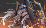 1girl :d absurdres animal_ears arknights bangs bare_shoulders belt belt_buckle black_belt black_jacket blush brown_hair buckle cardigan_(arknights) commentary_request eyebrows_visible_through_hair goggles goggles_on_head hair_between_eyes highres holding jacket long_hair looking_away matsuo_(matuonoie) open_mouth riot_shield safety_glasses shirt shoulder_cutout sidelocks smile solo sparks twintails violet_eyes white_shirt