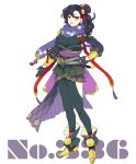 1girl black_gloves black_hair black_legwear blue_scarf boots breasts floral_print full_body gloves highres katana long_hair looking_at_viewer medium_breasts personification pokemon scarf seviper sheath sheathed shioya_(soooooolt) simple_background solo standing sword weapon white_background