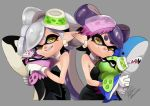 +_+ 2girls aori_(splatoon) bare_shoulders cheek_squash closed_mouth cousins detached_collar domino_mask earrings food food_on_head gloves grey_background grin hair_rings hotaru_(splatoon) ikea_shark interlocked_fingers isamu-ki_(yuuki) jewelry long_hair looking_at_viewer mask multiple_girls object_on_head orca pointy_ears purple_hair shark short_hair signature silver_hair smile splatoon_(series) splatoon_1 squid strapless stuffed_animal stuffed_shark stuffed_toy suction_cups symbol-shaped_pupils tentacle_hair white_gloves yellow_eyes
