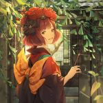 1girl :d black_eyes black_kimono brown_hair day dr_woodpecker eyebrows_visible_through_hair fate/grand_order fate_(series) hair_ornament hairpin highres holding_brush japanese_clothes katsushika_hokusai_(fate/grand_order) kimono long_sleeves looking_at_viewer open_mouth outdoors short_hair smile solo upper_body
