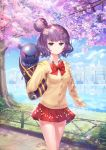 1girl animal bag blue_sky bow breasts brown_cardigan cardigan closed_mouth clouds cloudy_sky collared_shirt commentary_request day dress_shirt fate/grand_order fate_(series) flower hair_bun hair_ornament hand_up highres katsushika_hokusai_(fate/grand_order) lake long_sleeves looking_at_viewer octopus outdoors petals pink_flower pleated_skirt purple_hair red_bow red_skirt reflection runamochi school_bag school_uniform shirt skirt sky skyline sleeves_past_wrists small_breasts smile standing tokitarou_(fate/grand_order) tree violet_eyes water white_shirt