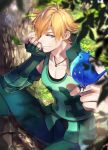 1boy animal animal_on_head armored bird bird_on_head blonde_hair blue_eyes boots brown_footwear collarbone day fate/extra fate_(series) fingerless_gloves gloves green_pants hair_over_one_eye in_tree jewelry leaf male_focus necklace noes on_head outdoors pants red_gloves robin_hood_(fate) sitting sitting_in_tree smile solo sunlight tree vertical-striped_gloves