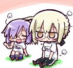 2girls artoria_pendragon_(all) bangs black-framed_eyewear black_ribbon black_shorts blonde_hair braid brown_eyes brown_footwear chibi closed_eyes commentary_request eyebrows_visible_through_hair fanning_face fanning_self fate/grand_order fate_(series) glasses grey_legwear gym_shirt gym_shorts gym_uniform hair_between_eyes hair_over_one_eye hair_ribbon kasuga_yuuki kneehighs mash_kyrielight multiple_girls mysterious_heroine_x_(alter) name_tag on_grass purple_legwear purple_shorts ribbon shirt shoe_soles shoes short_shorts short_sleeves shorts sidelocks sitting steaming_body sweat violet_eyes white_shirt