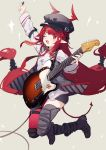 1girl arknights bangs black_headwear black_shorts blunt_bangs braid demon_tail electric_guitar fender guitar hat highres instrument jumping long_hair long_sleeves looking_at_viewer necktie one_eye_closed open_mouth plectrum pointy_ears red_eyes red_neckwear redhead sh_(562835932) shirt shorts single_thighhigh sketch smile solo tail telecaster thigh-highs tied_hair very_long_hair vigna_(arknights) white_shirt