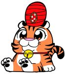 aladdin animal_focus bell bell_collar bkub bkub_(style) chandu collar commentary cub disney gem no_humans orange_eyes orange_fur paws red_collar red_headwear simple_background sitting snout solo tail tiger turban white_background