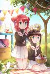 2girls backlighting bag basket blanket brown_hair cardcaptor_sakura coffee_pot commentary_request cosplay daidouji_tomoyo daidouji_tomoyo_(cosplay) day double_bun flower flower_wreath food fruit full_body grass green_eyes hair_ribbon hat head_wreath highres holding holding_basket holding_wreath jar kazehana_(spica) kero kero_(cosplay) kinomoto_sakura kinomoto_sakura_(cosplay) kneehighs kneeling kurosawa_dia kurosawa_ruby lemon lemon_slice long_sleeves love_live! love_live!_sunshine!! miniskirt mole mole_under_mouth multiple_girls ohara_mari outdoors paper_bag party_hat picnic picnic_basket plaid_blanket pleated_skirt redhead ribbon sandwich school_uniform seiza serafuku siblings sisters sitting skirt sky smile sparkle string_of_flags table tomoeda_elementary_school_uniform tree white_skirt