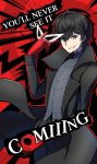 1boy abstract_background amamiya_ren atlus black_coat black_eyes black_hair black_pants black_vest english_text gloves got_'em highres holding holding_mask looking_at_viewer male_focus mask mask_removed megami_tensei meme nintendo pants persona persona_5 phiphi-au-thon red_background red_gloves smile solo super_smash_bros. vest
