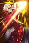 1boy bangs_pinned_back chinese_clothes clenched_hands commentary_request elbow_strike fate/grand_order fate_(series) glowing jacket li_shuwen_(fate/grand_order) li_shuwen_(koha-ace) long_sleeves martial_arts red_jacket solo standing sunglasses tomoyohi upper_body white_hair