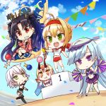 5girls :d ahoge bandaged_arm bandages bangs bare_shoulders bikini black_bikini black_footwear black_gloves black_hair black_legwear black_shirt blonde_hair blue_hair blue_sky blurry blurry_background boots bow braid brown_eyes brynhildr_(fate) buruma canadian_flag cheerleader chibi closed_mouth clouds cloudy_sky confetti crop_top day depth_of_field eyebrows_visible_through_hair fate/extra fate/grand_order fate_(series) gloves green_eyes gym_shirt gym_uniform hair_between_eyes hair_bow hair_intakes hairband holding horns ibaraki_douji_(fate/grand_order) ibaraki_douji_(swimsuit_lancer)_(fate) ishtar_(fate/grand_order) ishtar_(swimsuit_rider)_(fate) jack_the_ripper_(fate/apocrypha) jacket jin_young-in long_sleeves medal multiple_girls name_tag navel nero_claudius_(fate) nero_claudius_(fate)_(all) olympian_bloomers oni oni_horns open_mouth outdoors outstretched_arm pennant pink_jacket pleated_skirt pom_poms puffy_long_sleeves puffy_sleeves purple_shirt purple_skirt red_bow red_buruma red_eyes red_hairband shirt short_sleeves silver_hair single_glove skirt sky sleeveless sleeveless_shirt smile string_of_flags swimsuit swimsuit_under_clothes thigh-highs thigh_boots two_side_up v-shaped_eyebrows violet_eyes white_shirt white_swimsuit