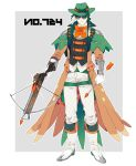 1boy arrow belt boots bow bow_(weapon) clenched_hand crossbow decidueye earrings feather_earrings full_body glasses gloves green_headwear grey_background hat highres holding_arrow jewelry looking_at_viewer male_focus orange_bow pants personification pokemon shioya_(soooooolt) simple_background sniper_scope solo vest weapon white_footwear white_gloves white_pants