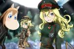 2girls ahoge blonde_hair blue_eyes colored_eyelashes commentary_request cosplay costume_switch creature fusion genya_(genya67) grin hat highres long_hair looking_at_viewer lyza lyza_(cosplay) made_in_abyss military military_uniform moomin moomintroll multiple_girls short_hair smile tanya_degurechaff tanya_degurechaff_(cosplay) uniform very_long_hair viktoriya_ivanovna_serebryakov youjo_senki