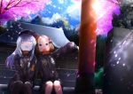 2girls :d abigail_williams_(fate/grand_order) abigail_williams_(fate/grand_order)_(cosplay) bags_under_eyes bangs black_bow black_headwear black_jacket blonde_hair blue_eyes blue_sky blush bow cabbie_hat clouds cloudy_sky commentary_request cosplay day eyebrows_visible_through_hair fate/grand_order fate_(series) flower hair_bow hair_bun hat heroic_spirit_traveling_outfit highres jacket kuro_yanagi lavinia_whateley_(fate/grand_order) long_hair long_sleeves matching_outfit motion_blur multiple_girls object_hug open_mouth orange_bow outdoors outstretched_arm parted_bangs petals pink_flower shrine silver_hair sitting sitting_on_stairs sky sleeves_past_fingers sleeves_past_wrists smile spring_(season) stairs star statue stone_stairs stuffed_animal stuffed_toy teddy_bear torii tree violet_eyes wide-eyed